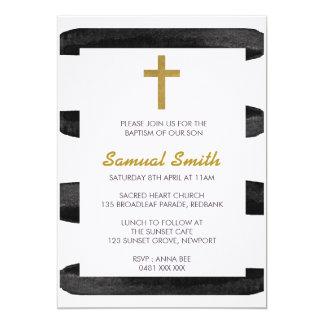Black White Gold  Baptism / Christening Invitation カード
