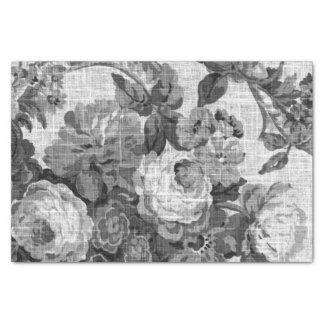 Black & White Gray Tone Vintage Floral Toile No.5 薄葉紙