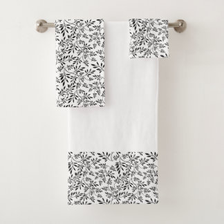 Black, white leaves pattern bathroom towel set バスタオルセット