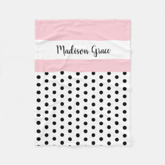 black/white polka dots w pink/white; personalized フリースブランケット