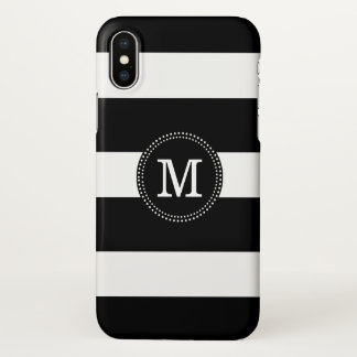 Black & White Stripes Monogram iPhone X ケース