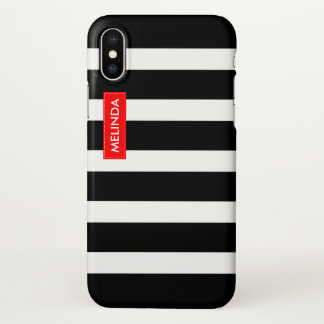 Black & White Stripes Red Accent iPhone X ケース