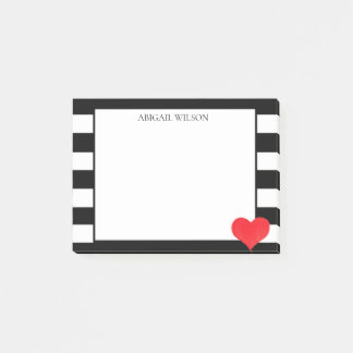 Black & White Stripes Red Heart Personalized ポストイット