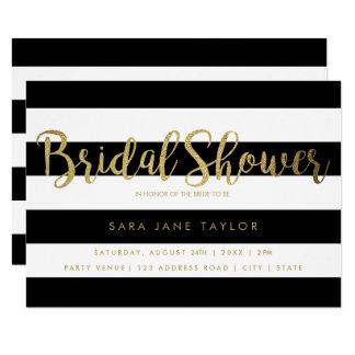 Black & White Stripes with Gold Foil Bridal Shower カード