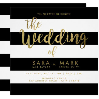 Black & White Stripes with Gold Foil Typography カード