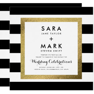 Black & White Stripes with Gold Foil Wedding カード