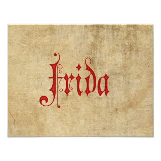 Blackletterの羊皮紙のFridaの名前入りな赤 カード