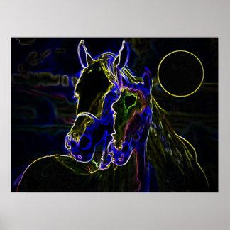 Blacklightの馬ポスタープリント-馬ポスター ポスター