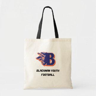 Blackmanの炎の青年フットボールおよびチアリーティング トートバッグ