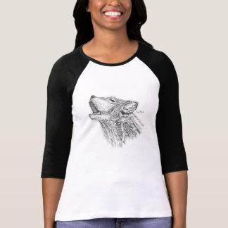 Blackworkのオオカミの女性の野球のワイシャツ Tシャツ