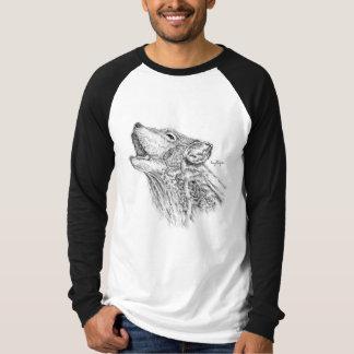 Blackworkのオオカミの男子野球のワイシャツ Tシャツ