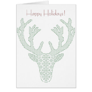 Blackworkのシカの頭部の休日の挨拶状 カード