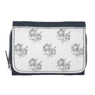Blackworkのデニムの刺繍の財布 ウォレット