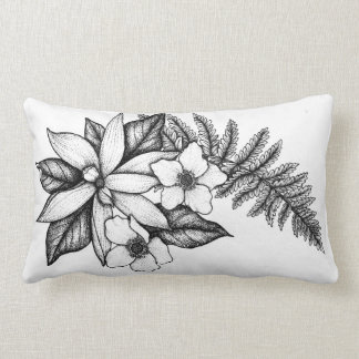 Blackworkの花の枕 ランバークッション