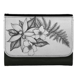 Blackworkの花の財布 ウォレット