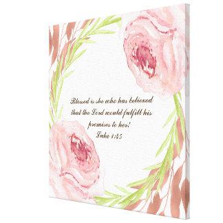 """blessed彼女… ""Rosieのリースが付いているキャンバスのプリントです キャンバスプリント"