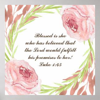 """""""blessed彼女… """"Rosieのリースが付いているポスターです ポスター"""