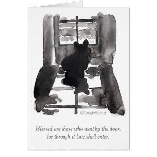 """""""blessed""""コーギーの至福カードを待っている人です ノートカード"""