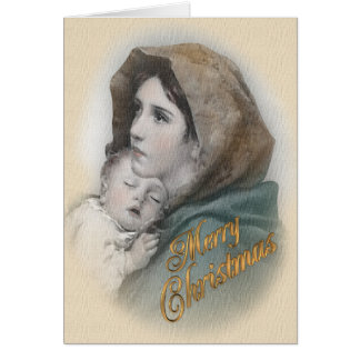 Blessed Mother and Baby Jesus Christmas card カード