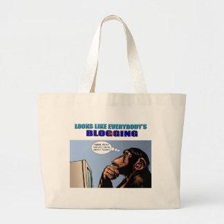 Blogging皆のように見えます ラージトートバッグ