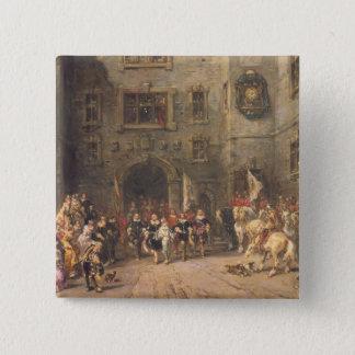 Bloisの館のルイXIII、1874年(cの油 5.1cm 正方形バッジ