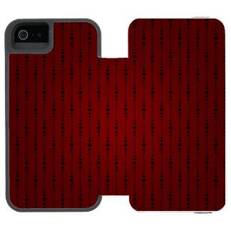 Blood Redおよび黒いビーズの生地 iPhone SE/5/5sウォレットケース