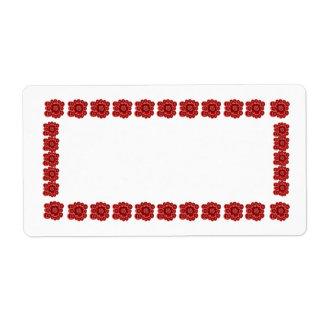 Blood Red花のボーダー ラベル