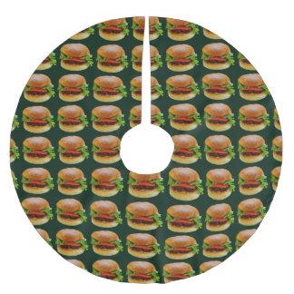 BLTのハンバーガーの食糧パターンクリスマスツリーのスカート ブラッシュドポリエステルツリースカート