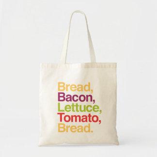 BLTのパン、ベーコン、レタス、トマト、パンのバッグ トートバッグ