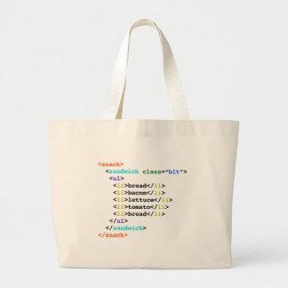BLT HTMLのおもしろいなギークサンドイッチ ラージトートバッグ