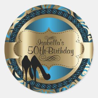 Blue Abstract Birthday Black High Heels ラウンドシール