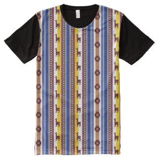 Blue and brown peruvian Llama Pattern オールオーバープリントT シャツ