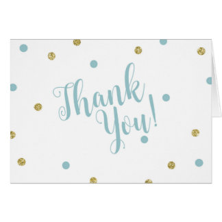 Blue and Gold Glitter Thank You Cards カード