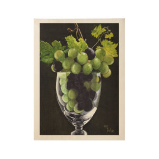 Blue and Green Grapes ウッドポスター
