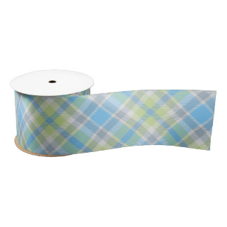 Blue and light green plaid ribbon サテンリボン