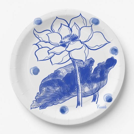 blue and white Japanese traditional plate 紙皿 大