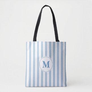 Blue and White Print  Pattern Monogram トートバッグ