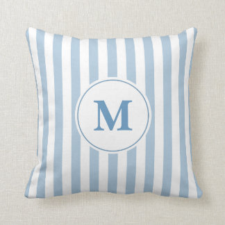 Blue and White Stripe Pattern Monogram クッション