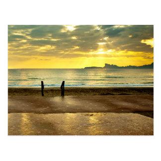 Blue and yellow seaside landscape ポストカード
