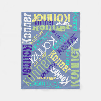 Blue Blanket Name Collage Personalized フリースブランケット