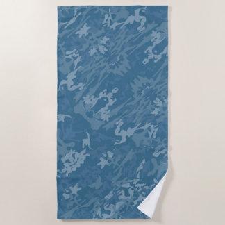 Blue Camouflage Pattern ビーチタオル