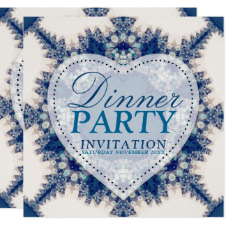 Blue & Cream Boho Chic Country Dinner Party カード