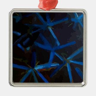 Blue Crystal Stars Christmas Tree Decoration メタルオーナメント
