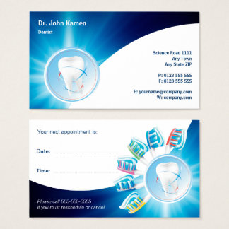 Blue Dental Appointment Card | Personalize Dentist 名刺