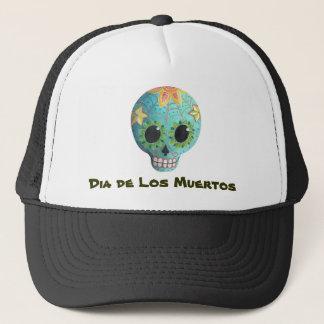 Blue Dia de Los Muertos Artの砂糖のスカル キャップ