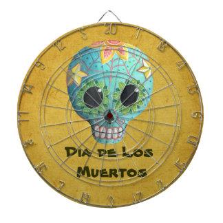 Blue Dia de Los Muertos Artの砂糖のスカル ダーツボード