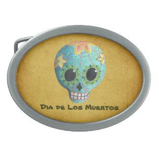 Blue Dia de Los Muertos Artの砂糖のスカル 卵形バックル