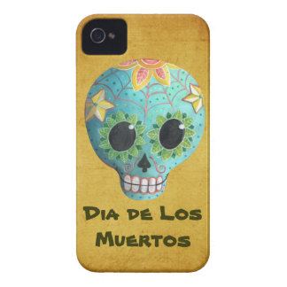 Blue Dia de Los Muertos Artの砂糖のスカル Case-Mate iPhone 4 ケース