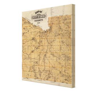 Blue Earth郡、ミネソタの地図 キャンバスプリント