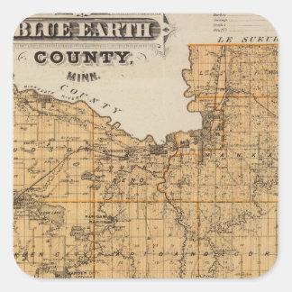 Blue Earth郡、ミネソタの地図 スクエアシール